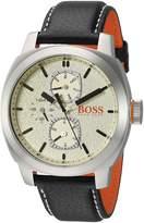 HUGO BOSS Men's 1550026 Casual 46mm/ Multi/ 5atm/ Cushion Ss Case/ Parchment Dial W. Dark Details/ Black Leather Strap Watch