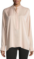 Helmut Lang Tie-Back Stretch Silk Top, Blush