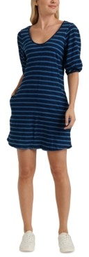 Lucky Brand Striped Puff-Sleeve Dress
