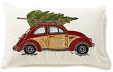 Noble Excellence Vintage Car & Christmas Tree Embroidered Pillow