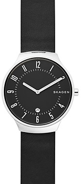 Skagen Grenen Black Leather Watch, 38mm