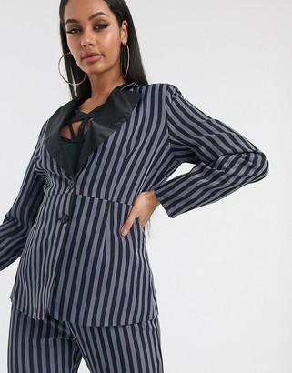 UNIQUE21 Unique 21 blazer with contrast lapel in stripe
