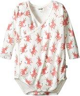 Oeuf Kimono Bodysuits (Baby) - White With Pink Unicorns - 6-12 Months