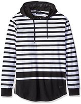 WT02 Men's Basic Long Sleeve Hooded Stripe Pull Over Hoodie with Solid Scallop Bottom