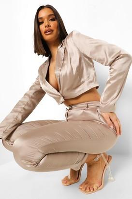 boohoo Satin Tailored Crop Blazer