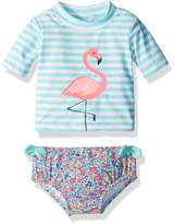 Carter's Baby Girls' Short Sleeve Rash Guard Swimsuit Set