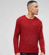 Asos Tall Heavyweight Fisherman Rib Jumper In Burgundy