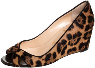 Christian Louboutin Leopard Print Pony Hair Peep Toe Wedges Size 37