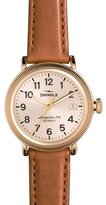 Shinola 38mm Runwell Coin-Edge Leather Strap Watch, Golden/Bourbon