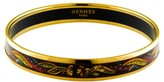 Hermes Narrow Black Enamel Aztec Gold Plate Bangle Bracelet