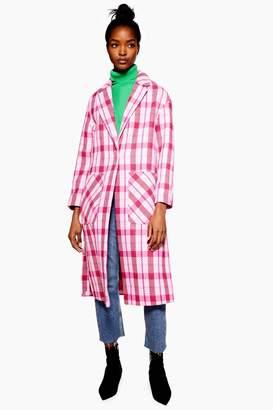 Topshop Womens Check Side Split Coat - Pink