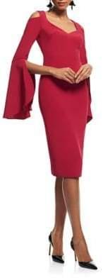Theia Bell-Sleeve Knee-Length Dress
