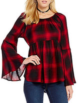 Copper Key Plaid Bell Sleeve Babydoll Blouse