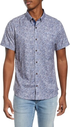 7 Diamonds House of Love Slim Fit Floral Short Sleeve Button-Down Shirt