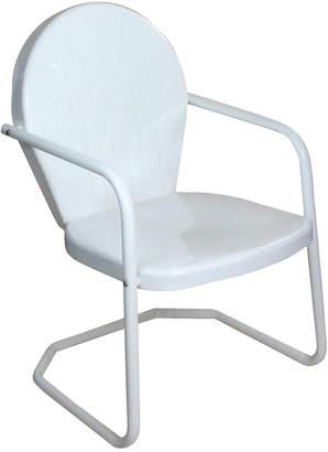 Lb International 34In White Retro Metal Outdoor Tulip Chair