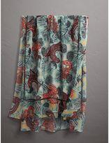 Burberry Beasts Print Lightweight Silk Scarf, Green