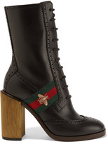 Gucci Canvas-trimmed Leather Ankle Boots - Black