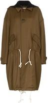Plan C drawstring waist wool parka coat