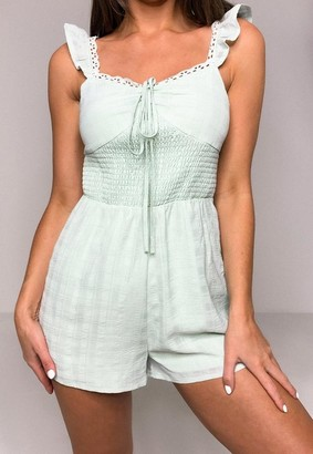 Missguided Petite Mint Textured Shirred Romper