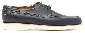 John Lobb Isle Leather Boat Shoes - Mens - Blue