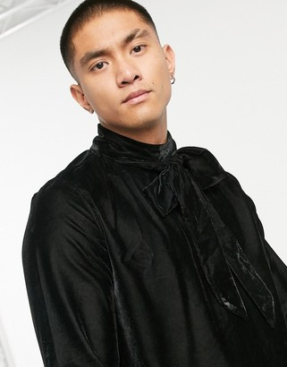 ASOS DESIGN regular fit velvet shirt with pussybow neck tie in black