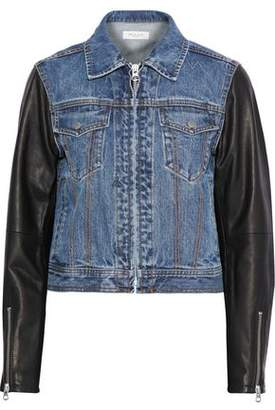 Rag & Bone Nico Leather-paneled Faded Denim Jacket