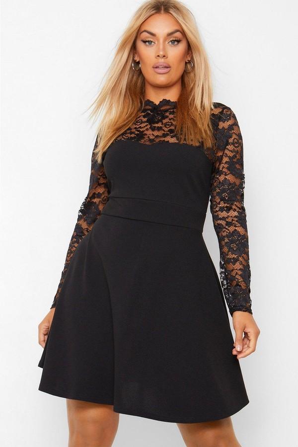 boohoo Plus Lace Contrast Skater Dress