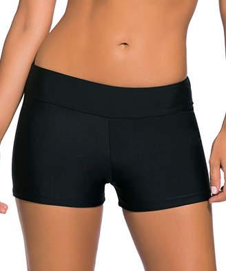 Zesica Women's Board Shorts Black - Black Wide Waistband Boyshort Bikini Bottoms - Women & Plus