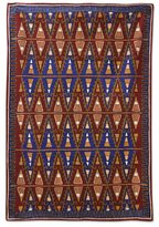 Novica Indian Chain Stitched Wool Rug, 'Valley of Fire' (4' x 6')