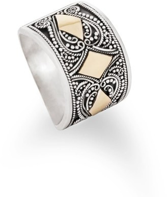 Aquila Jewellery Unique Statement Solid Silver And 18K Gilded Gold Ring - Kerala