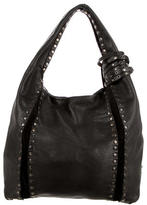 Jimmy Choo Leather Stud-Trimmed Hobo