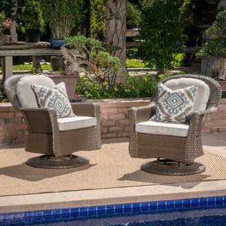 Modern Outdoor Dearing Wicker Swivel Club Patio Chair with Cushions Birch Lanea Heritage Frame Color: Brown
