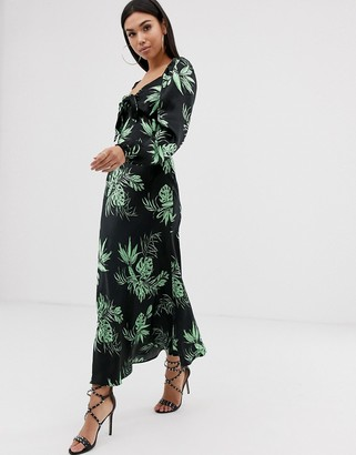Asos Design DESIGN sweetheart tropical print maxi dress with bow front-Multi