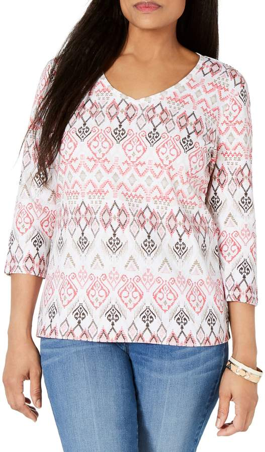 Karen Scott Printed V-Neck Top