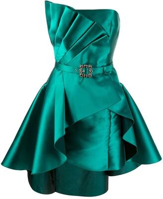 Alberta Ferretti Pleated Detail Satin Cocktail Dress