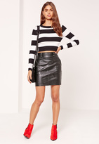 Missguided Quilted Waist Faux Leather Mini Skirt Black