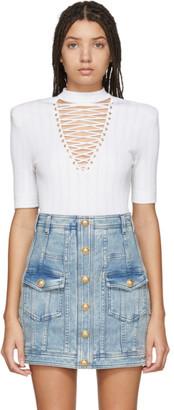 Balmain White Lace-Up Sweater