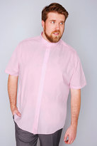 Yours Clothing Slate Grey Pale Pink Formal Short Sleeved Shirt - REG
