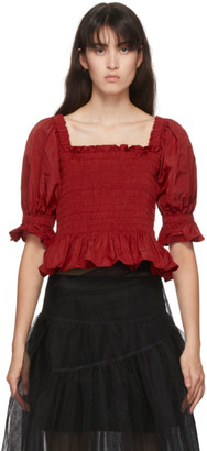 Molly Goddard Red Mackenzie Blouse