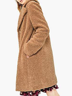 Oasis Button Teddy Coat, Mid Neutral
