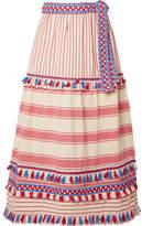 Dodo Bar Or - Fringed Cotton-gauze Midi Skirt - Red