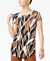 Alfani Petite Printed Shirttail Top, Created for Macy's