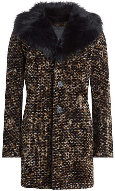 Marc Jacobs Printed Cotton Coat with Faux Fur Collar