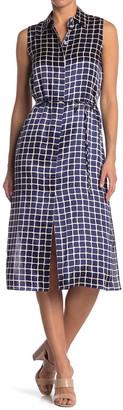 Theory Sleeveless Shirt Dress w/ Tile Print