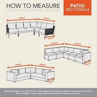 """Modern Leisure Monterey Outdoor Patio Sectional L Cover, Right 104"""" L x 83"""" W x 31"""" H x 32"""" D, Beige"""