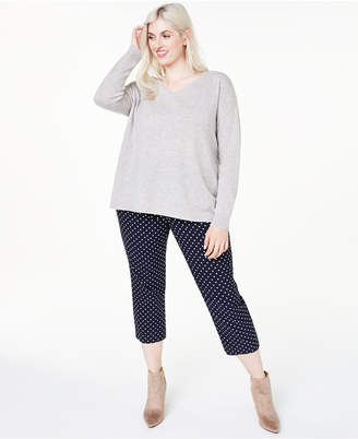 Charter Club Plus Size Cashmere Double V-Neck Sweater