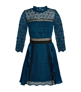 Self-Portrait Guipure Lace Pleated Mini Dress