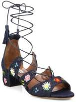 Tabitha Simmons Isadora Flower-Embroidered Denim Lace-Up Sandals