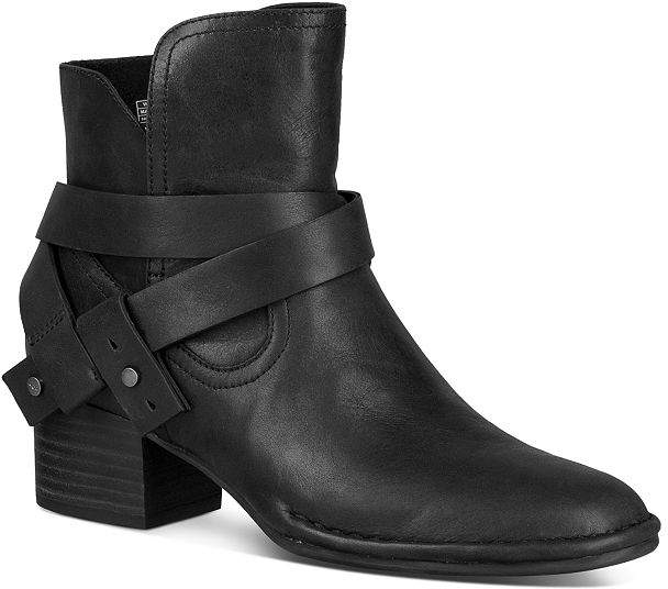 UGG Women's Elysian Round Toe Leather Mid-Heel Booties