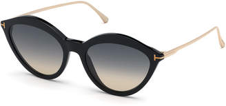 Tom Ford Chloe Cat-Eye Acetate & Metal Sunglasses